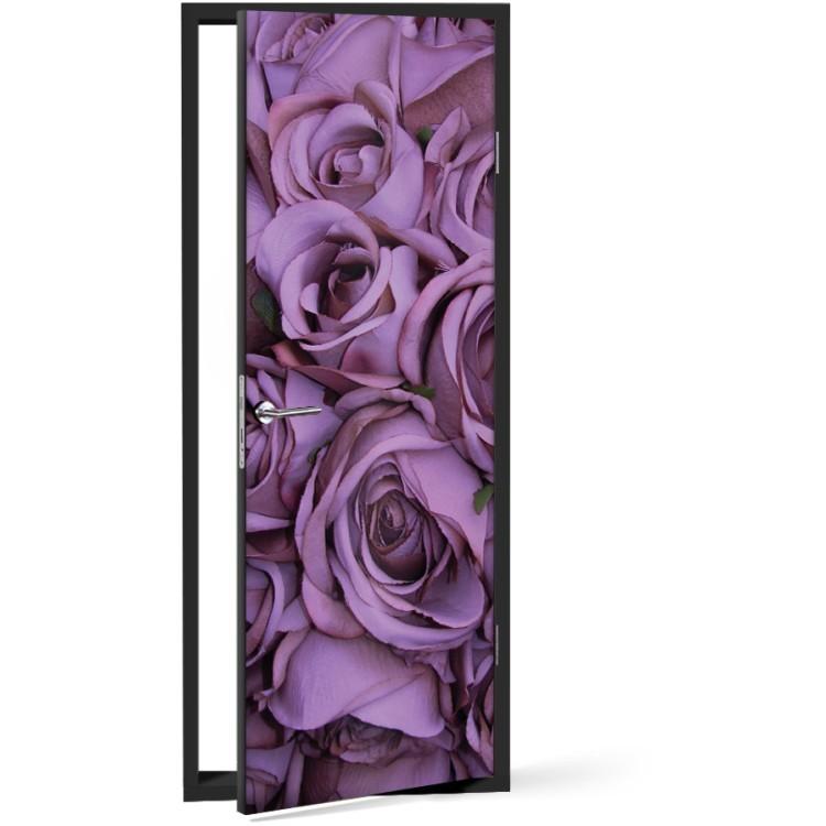 Αυτοκόλλητο Πόρτας Μωβ τριαντάφυλλα