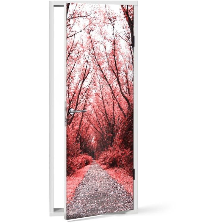 Αυτοκόλλητο Πόρτας Κόκκινο δάσος
