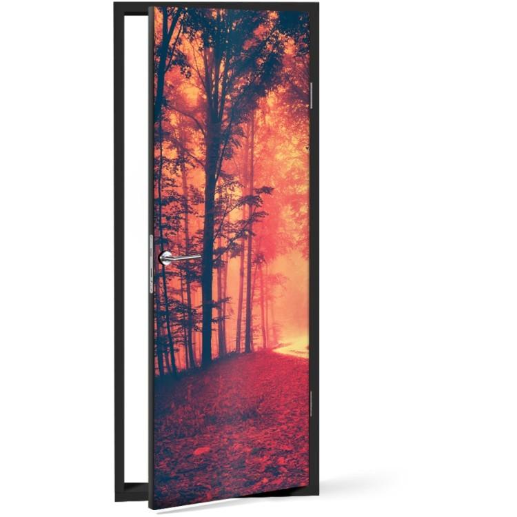 Αυτοκόλλητο Πόρτας Κόκκινο σκοτεινό δάσος