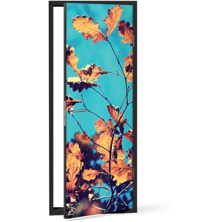 Αυτοκόλλητο Πόρτας Κίτρινα φύλλα του φθινοπώρου