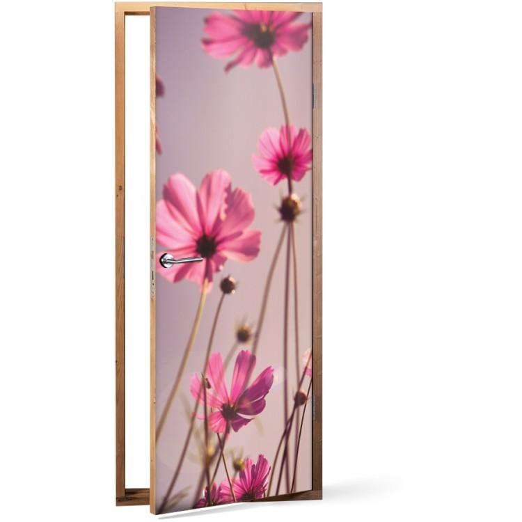 Αυτοκόλλητο Πόρτας Ροζ λουλούδια