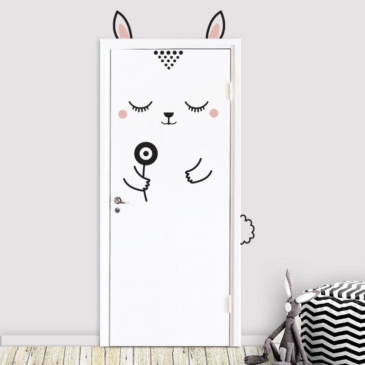 Αυτοκόλλητο Πόρτας Bunny Flower