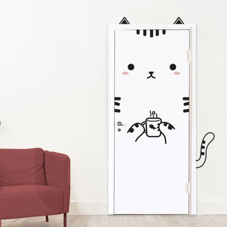 Αυτοκόλλητο Πόρτας Cat Drinking