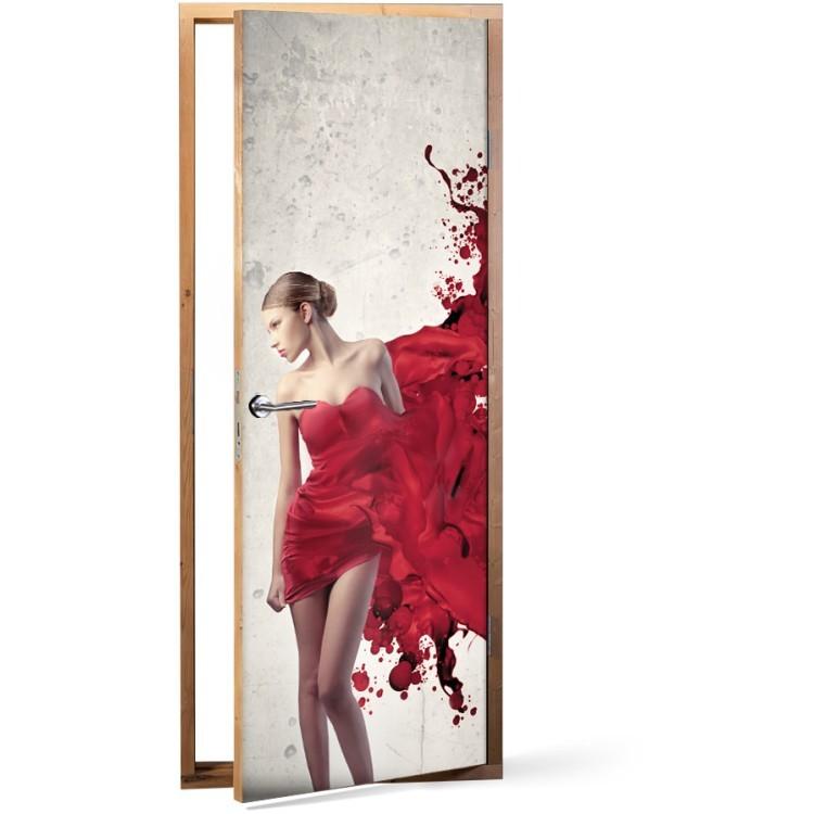 Αυτοκόλλητο Πόρτας Κόκκινο φόρεμα