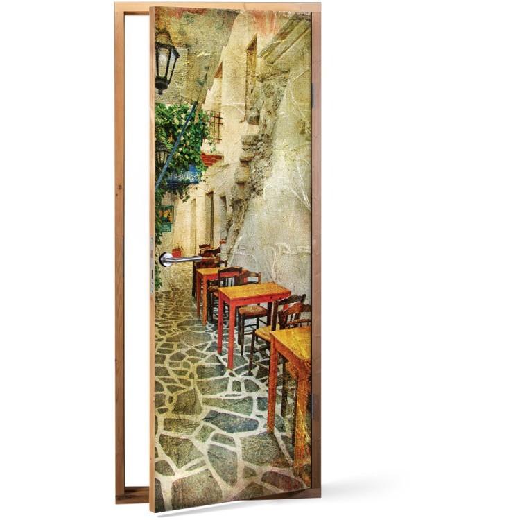 Αυτοκόλλητο Πόρτας Ελληνικές ταβέρνες, σε στυλ ζωγραφικής
