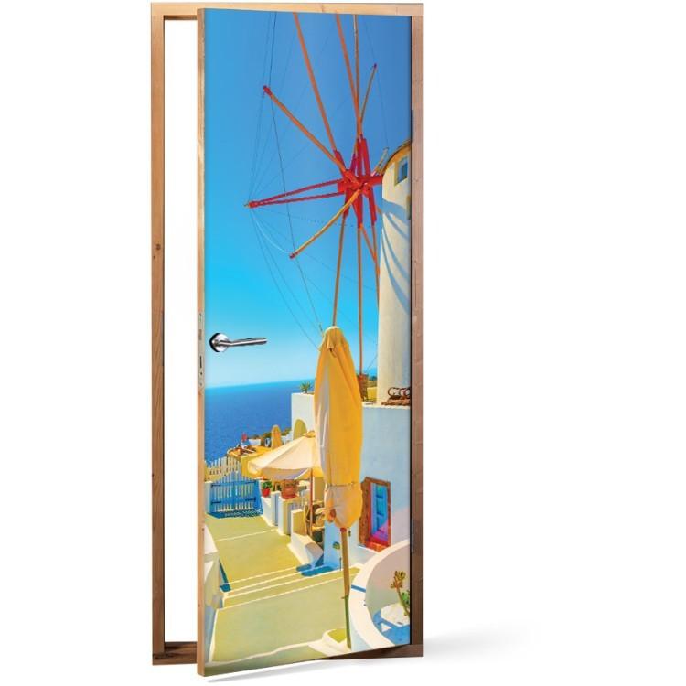Αυτοκόλλητο Πόρτας Παραδοσιακός ανεμόμυλος, Οία
