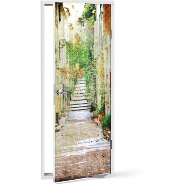 Αυτοκόλλητο Πόρτας Μεσογειακό σοκάκι