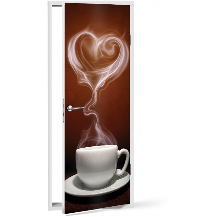 Αυτοκόλλητο Πόρτας Love for coffee