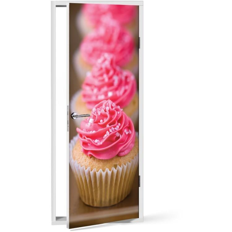 Αυτοκόλλητο Πόρτας Φούξια cupcake