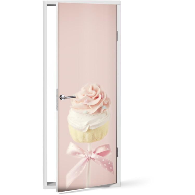 Αυτοκόλλητο Πόρτας Pink cupcake