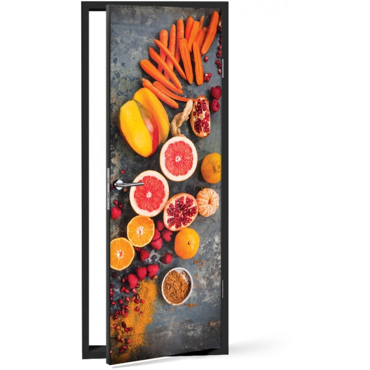 Αυτοκόλλητο Πόρτας Τροπικά φρούτα
