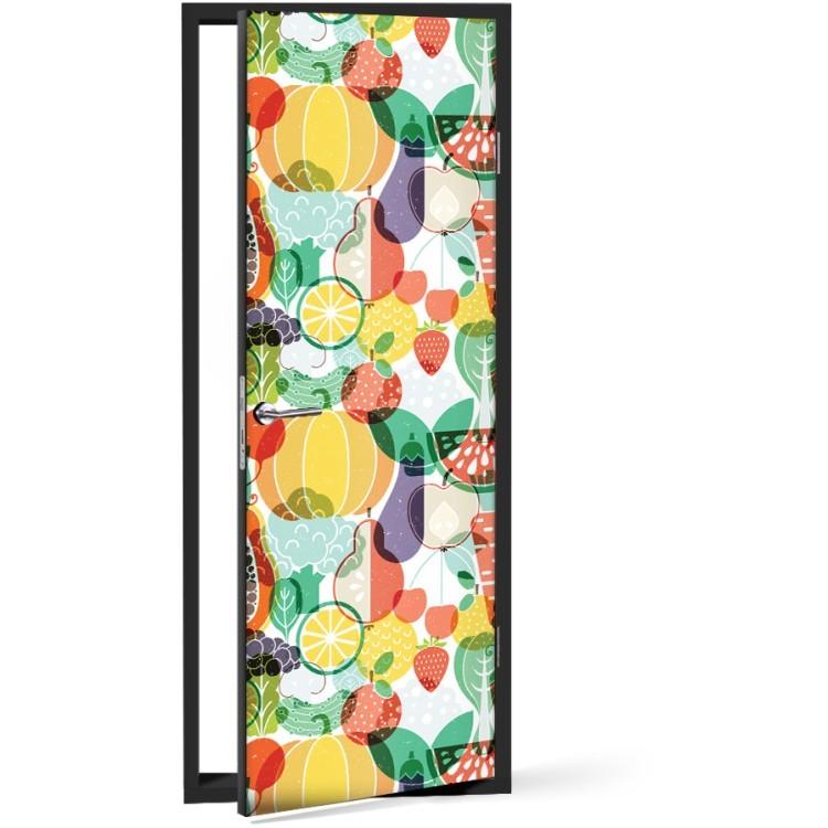 Αυτοκόλλητο Πόρτας Φρούτα και λαχανικά