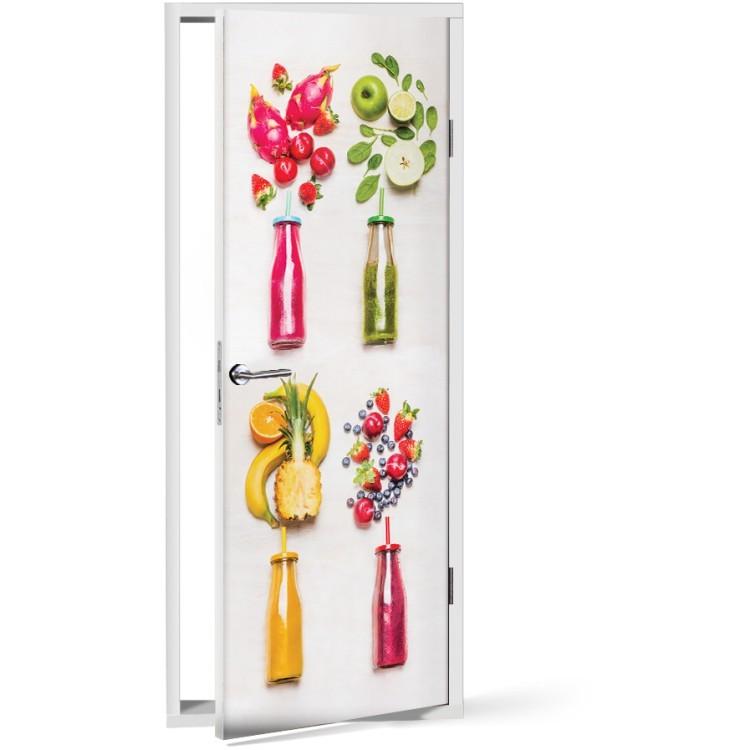 Αυτοκόλλητο Πόρτας Πολύχρωμα Φρούτα και λαχανικά