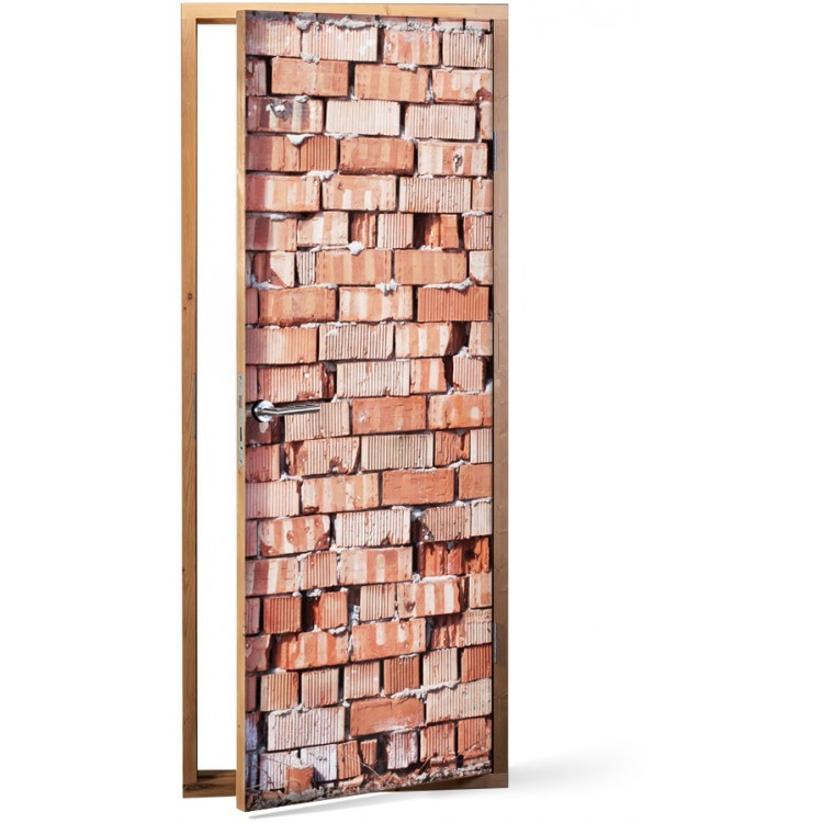 Αυτοκόλλητο Πόρτας Τοίχο από τούβλα