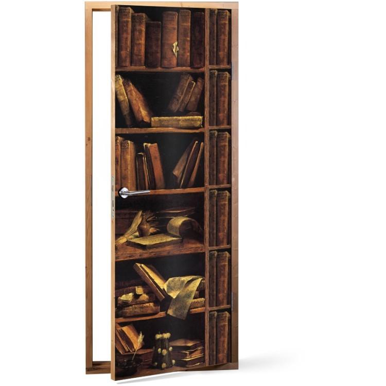 Αυτοκόλλητο Πόρτας Παλαιά βιβλιοθήκη