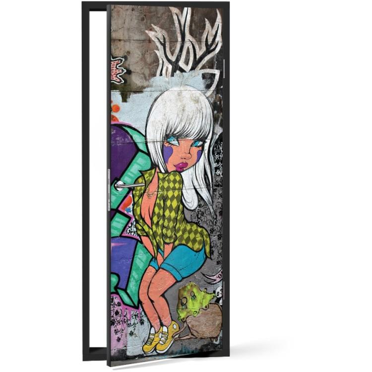 Αυτοκόλλητο Πόρτας Graffiti girl