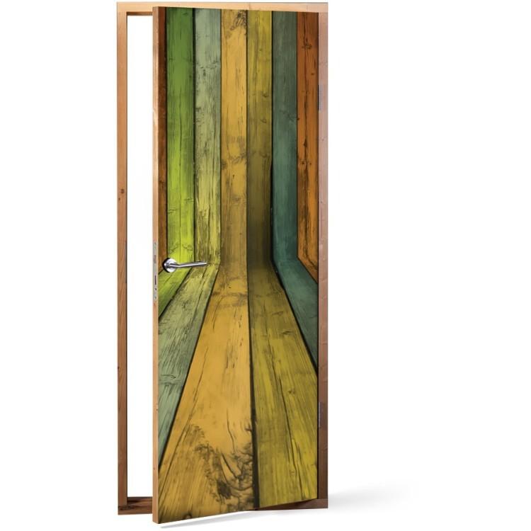 Αυτοκόλλητο Πόρτας Ξύλινη επένδυση