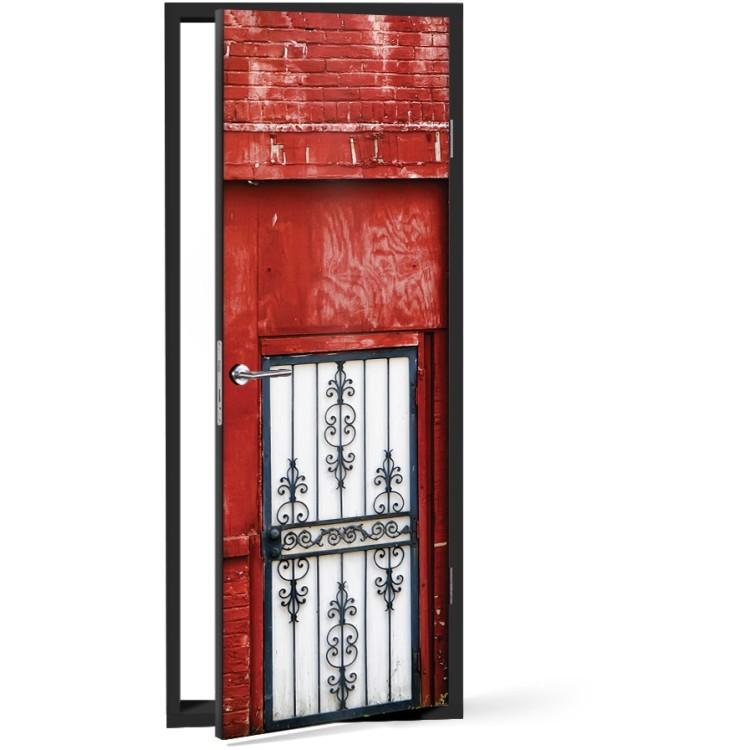 Αυτοκόλλητο Πόρτας Πόρτα κόκκινο φόντο
