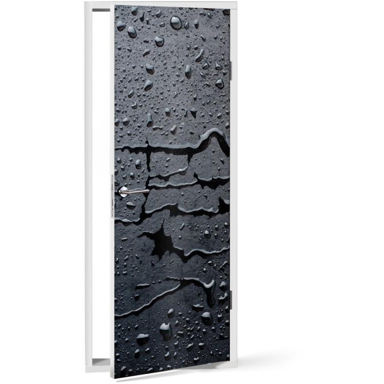 Αυτοκόλλητο Πόρτας Σταγόνες γκρι φόντο