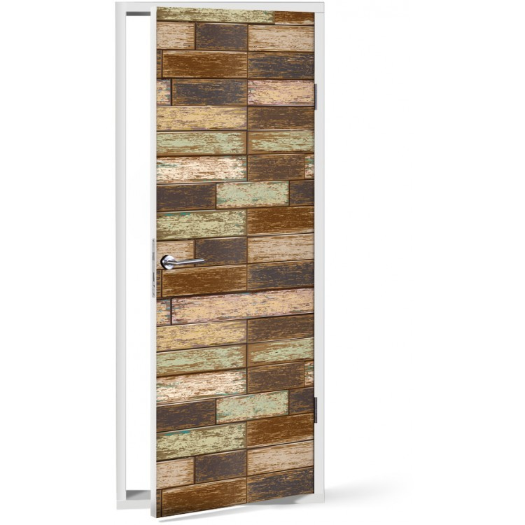 Αυτοκόλλητο Πόρτας Οριζόντια επένδυση ξύλου