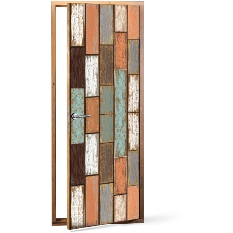 Αυτοκόλλητο Πόρτας Κάθετη επένδυση ξύλου