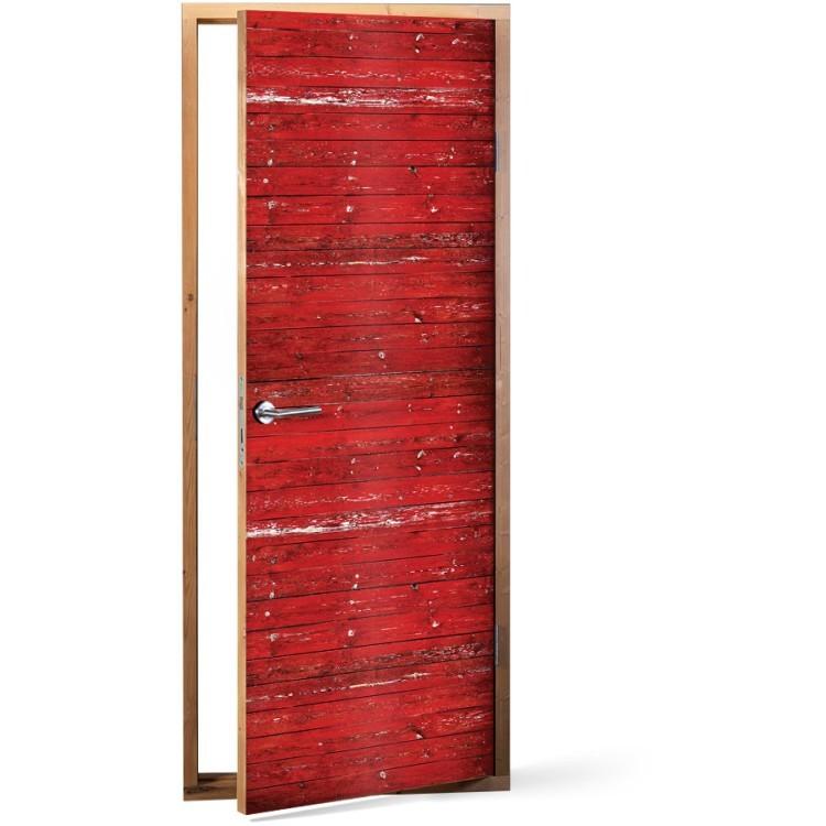Αυτοκόλλητο Πόρτας Κόκκινο ξύλο
