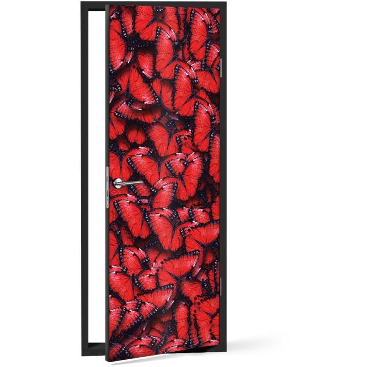 Αυτοκόλλητο Πόρτας Κόκκινες πεταλούδες