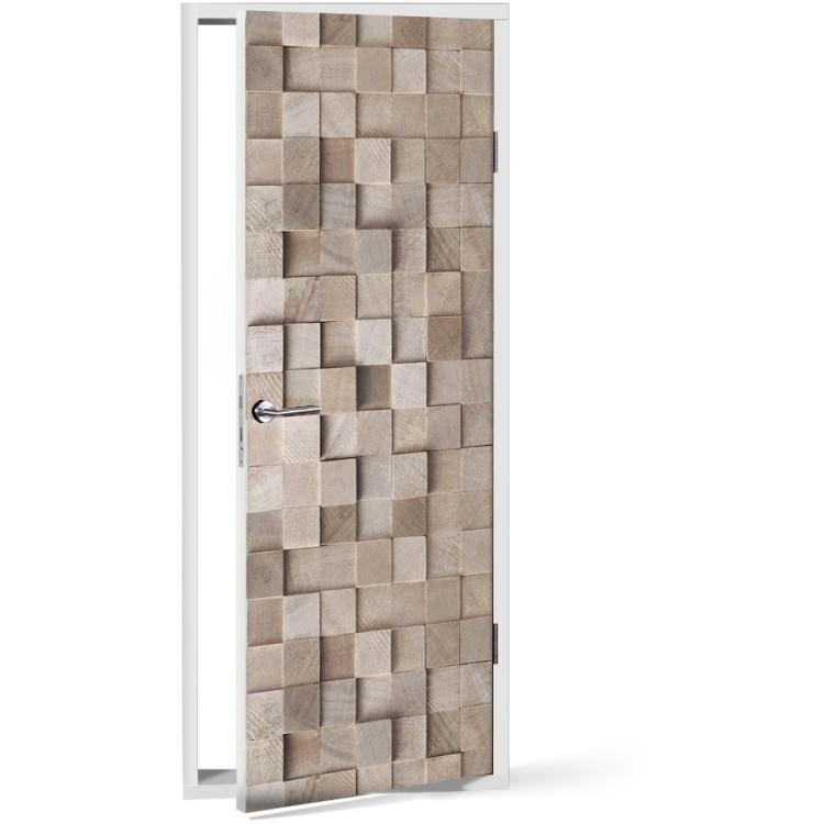 Αυτοκόλλητο Πόρτας Στοίβα από ξυλεία
