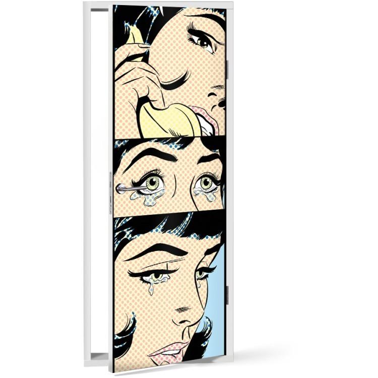 Αυτοκόλλητο Πόρτας Γυναίκα Pop Art