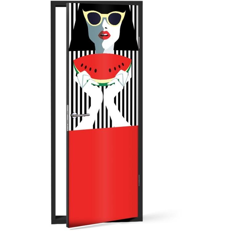 Αυτοκόλλητο Πόρτας Ρετρό Κορίτσι