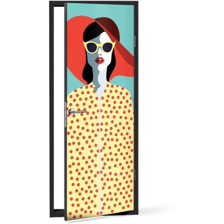 Αυτοκόλλητο Πόρτας Ρετρό Γυναίκα