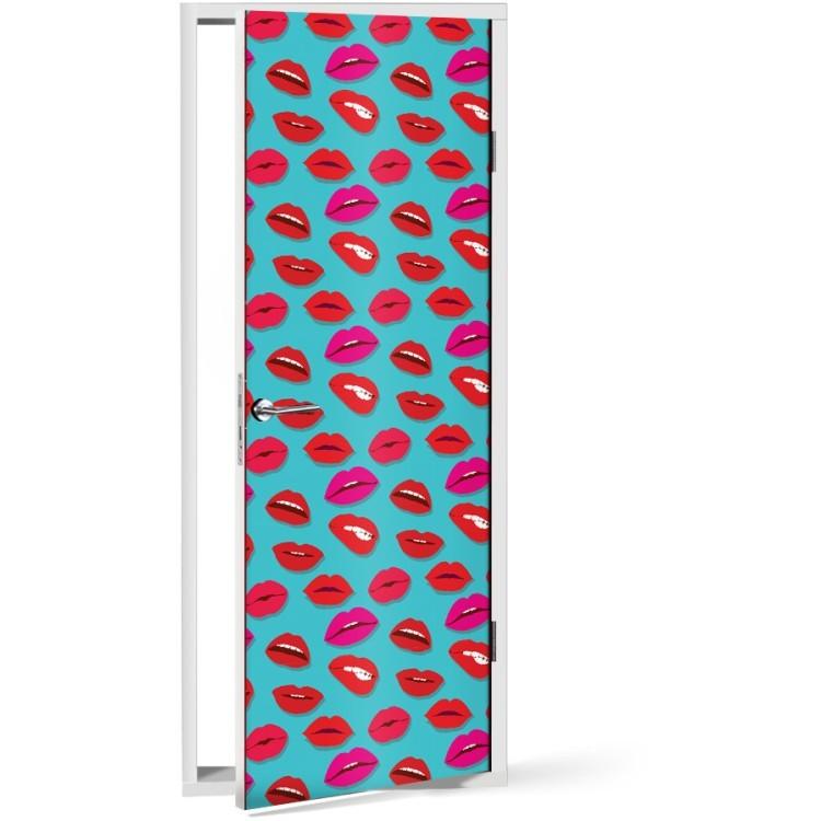 Αυτοκόλλητο Πόρτας Μοτίβο με χείλη