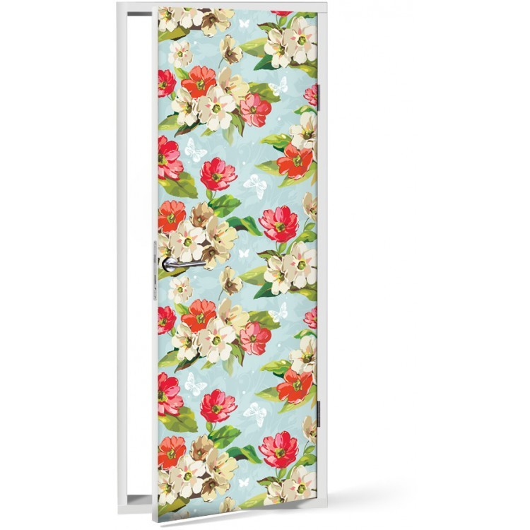 Αυτοκόλλητο Πόρτας Λουλούδια την άνοιξη
