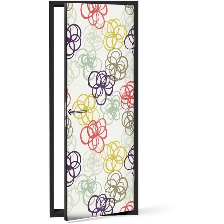 Αυτοκόλλητο Πόρτας Σκίτσο από πολύχρωμα λουλούδια