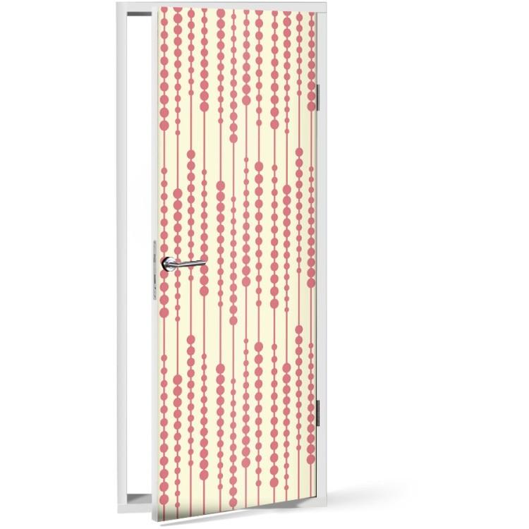 Αυτοκόλλητο Πόρτας Κόκκινο μοτίβο με χάντρες