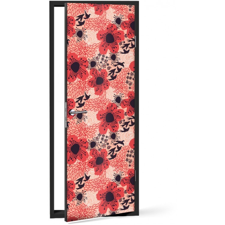 Αυτοκόλλητο Πόρτας Κόκκινα λουλούδια