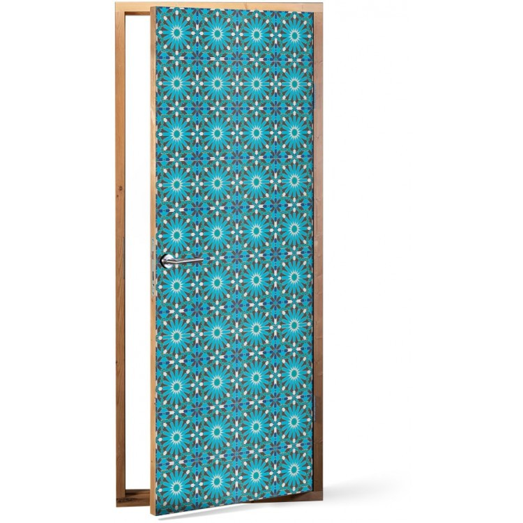 Αυτοκόλλητο Πόρτας Μπλε μοτίβο