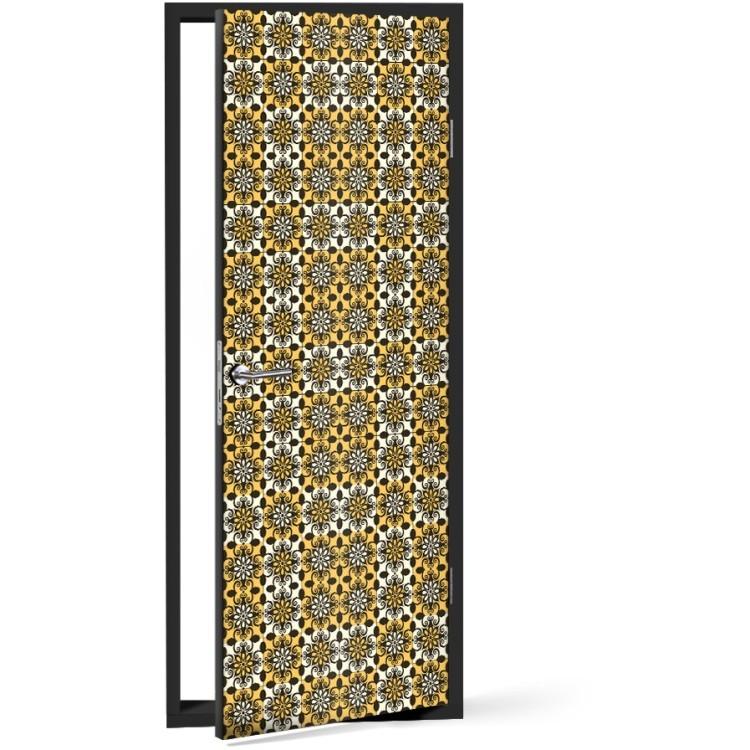 Αυτοκόλλητο Πόρτας Κίτρινο μοτίβο