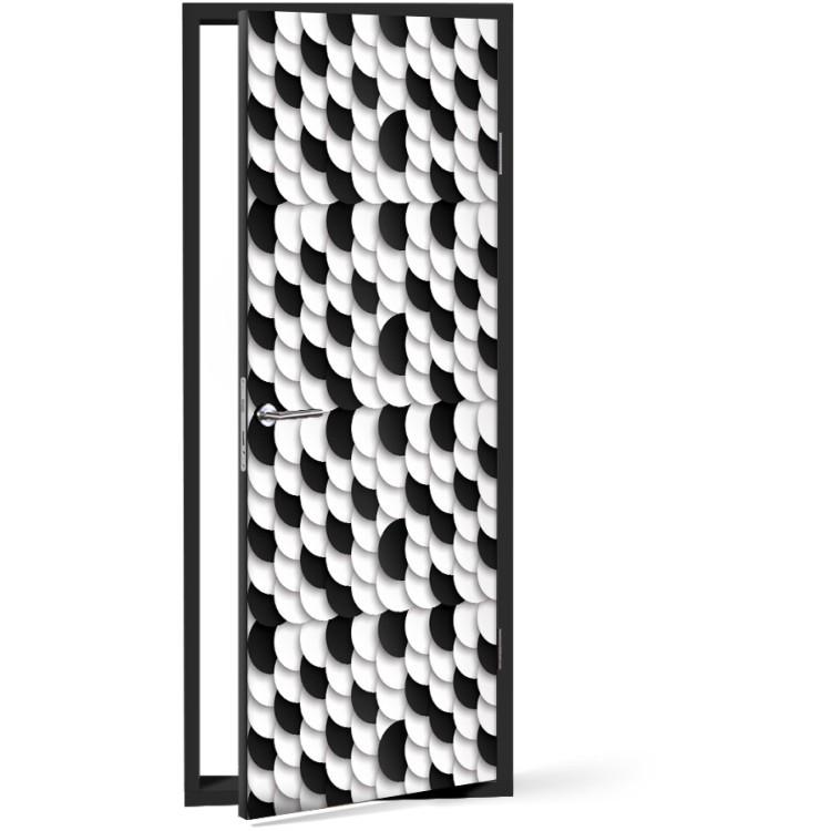 Αυτοκόλλητο Πόρτας Black and white bubbles
