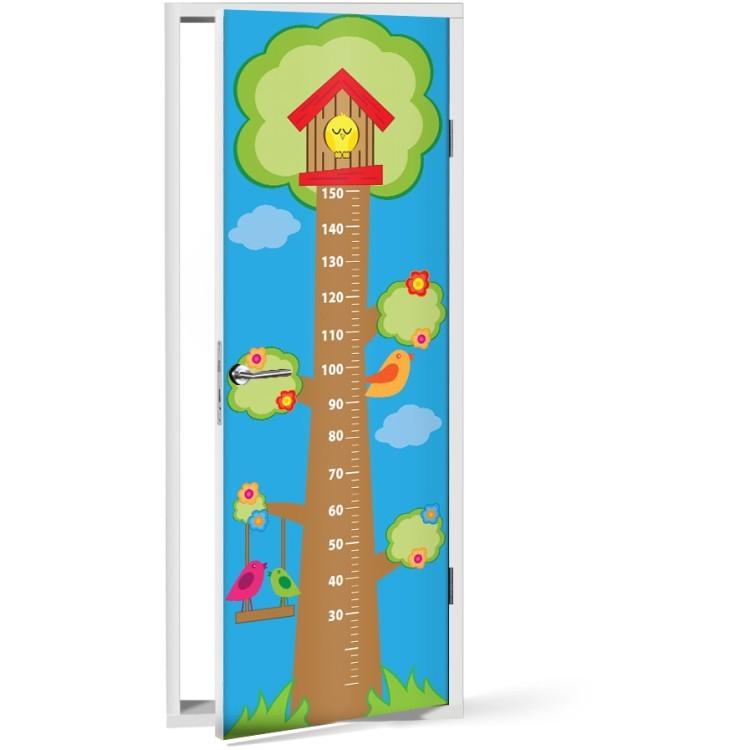 Αυτοκόλλητο Πόρτας Δέντρο με πουλάκια Υψόμετρο