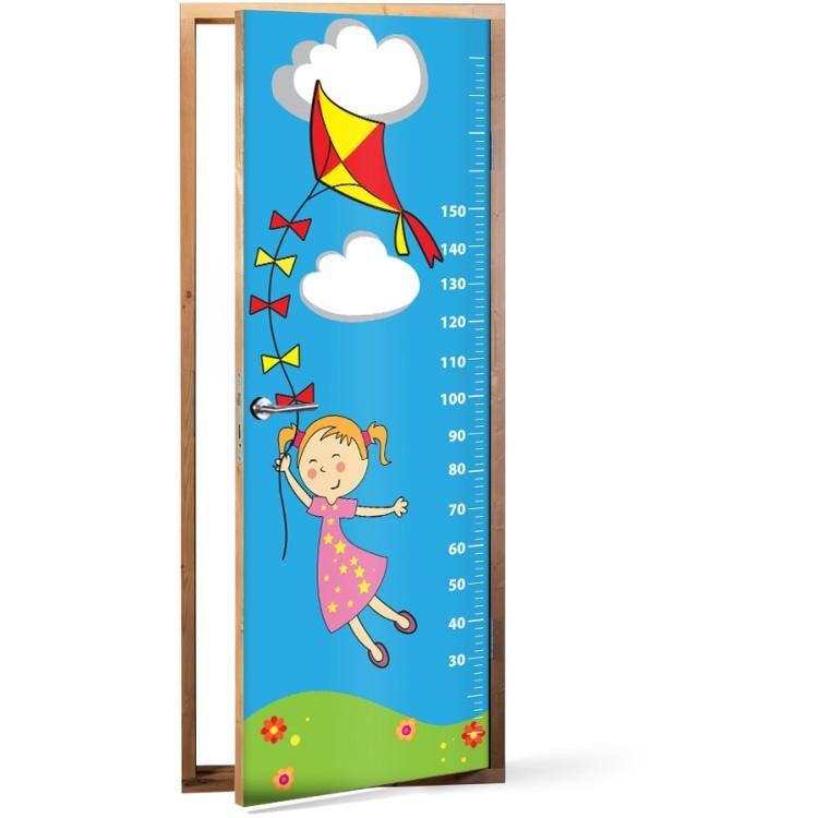 Αυτοκόλλητο Πόρτας Κοριτσάκι με Χαρταετό Υψόμετρο