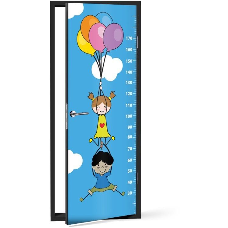 Αυτοκόλλητο Πόρτας Παιδάκια Με Μπαλόνια Υψόμετρο