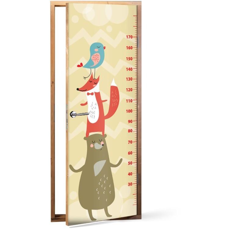 Αυτοκόλλητο Πόρτας Little animals Height Meter