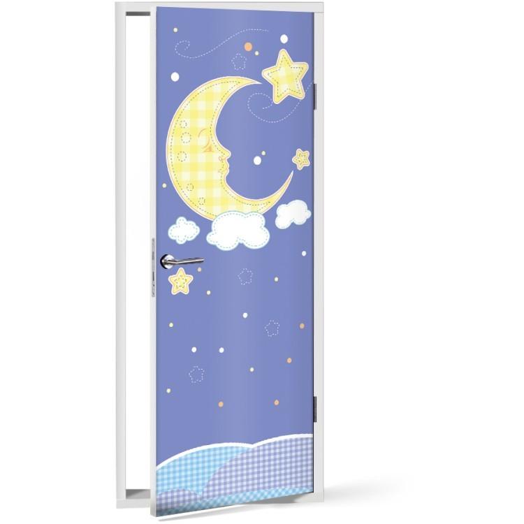 Αυτοκόλλητο Πόρτας Φεγγάρι με αστεράκια