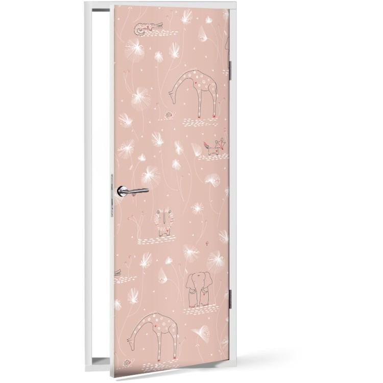Αυτοκόλλητο Πόρτας Zώα ροζ φόντο