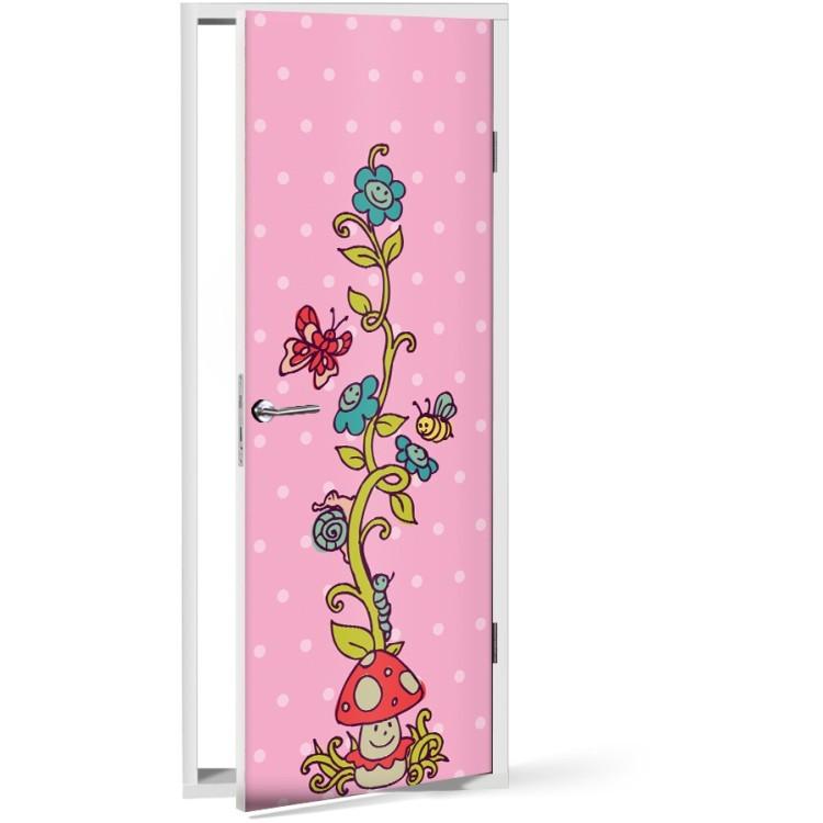 Αυτοκόλλητο Πόρτας Μικρά χαρούμενα λουλούδια και μέλισσες