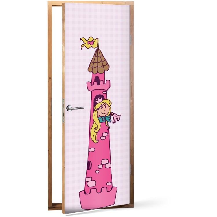 Αυτοκόλλητο Πόρτας Καρτούν πριγκίπισσα στο κάστρο της