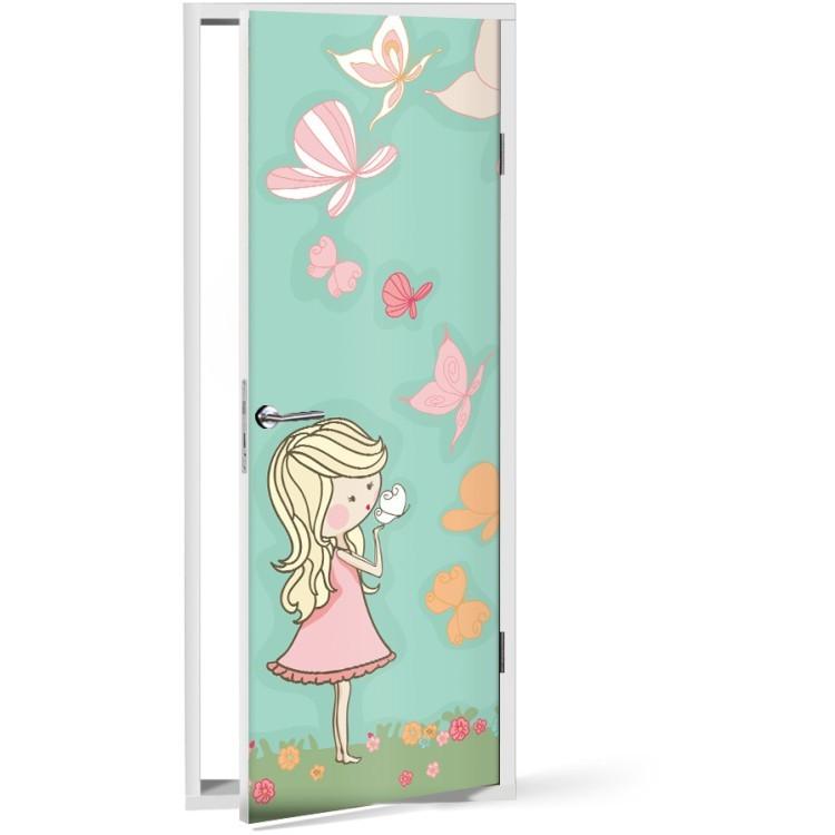 Αυτοκόλλητο Πόρτας Κορίτσι παίζει με πεταλούδες