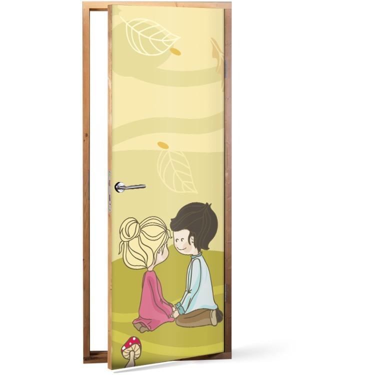 Αυτοκόλλητο Πόρτας Παιδάκια σε λιβάδι