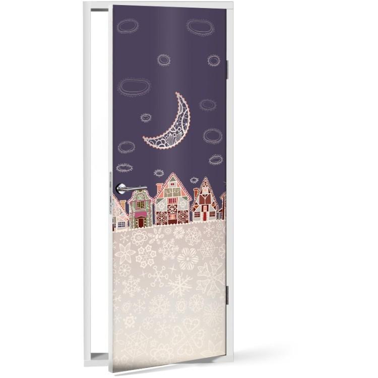 Αυτοκόλλητο Πόρτας Πόλη με φεγγάρι
